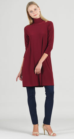 Mock Neck Cut Out Tunic Dress - Merlot