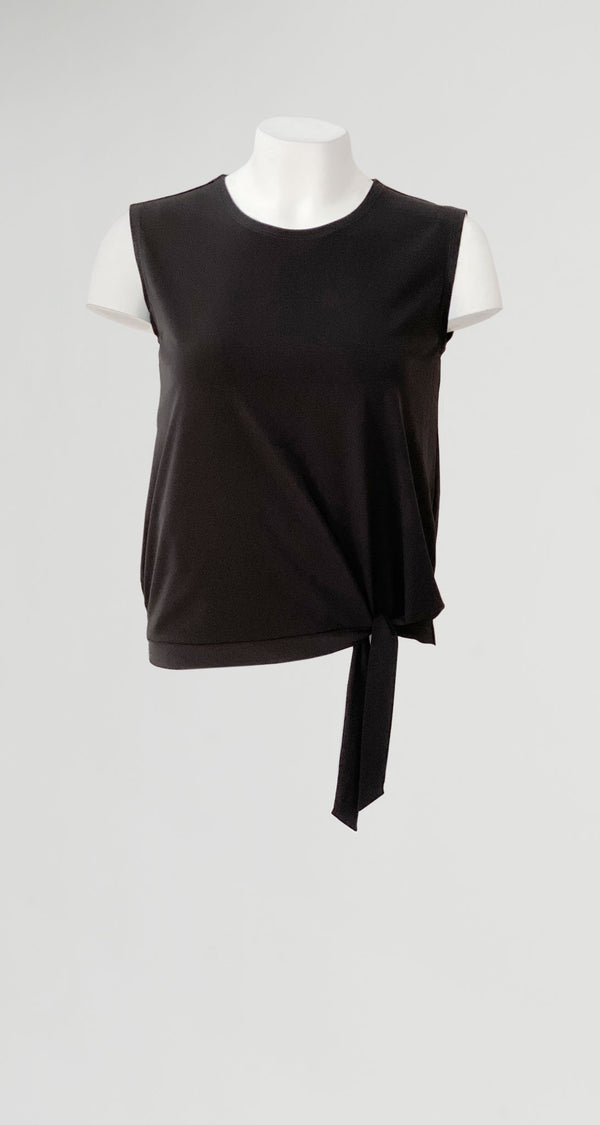 Solid Blouse Tie Hem Tank - Black - Final Sale! - Clara Sunwoo