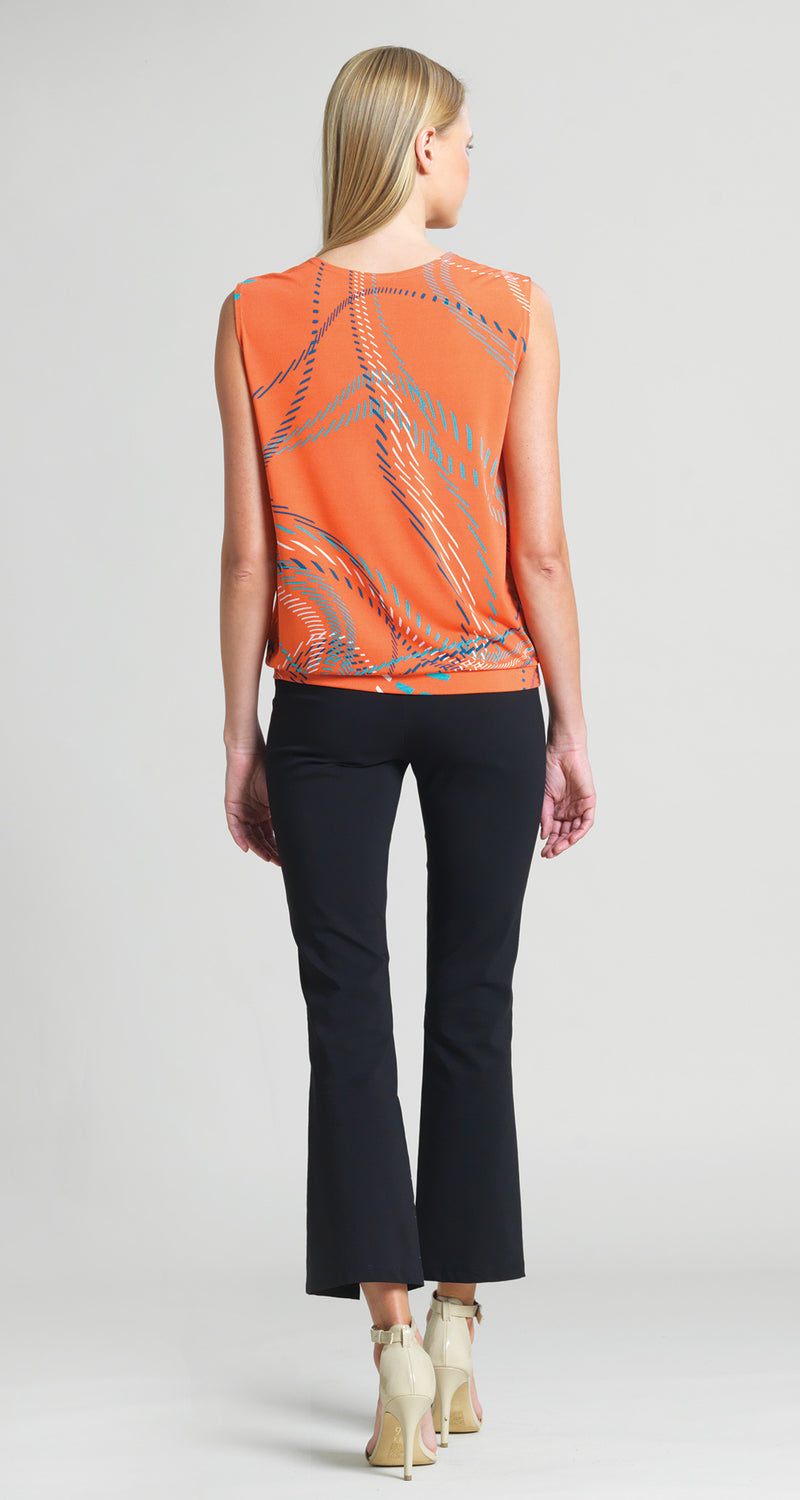 Dash Line Swirl Print Blouse Tank - Coral - Limited Sizes! - Clara Sunwoo