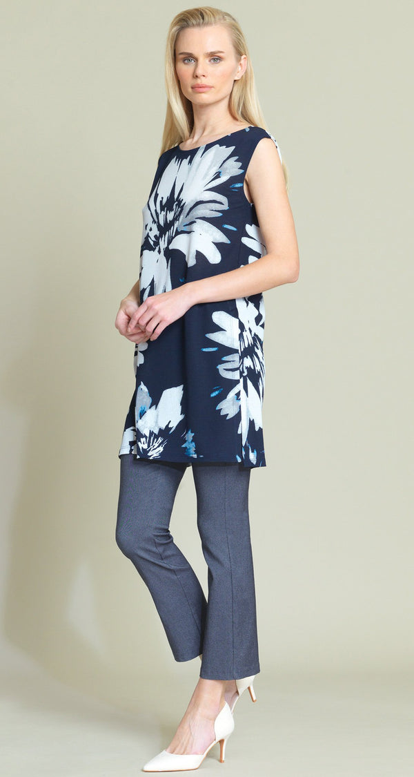 Watercolor Floral Crepe Knit Dual Vent Tunic Tank - Final Sale - Clara Sunwoo