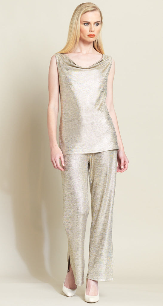 Lamé Cowl Neck Tank - Champagne - Limited Sizes!