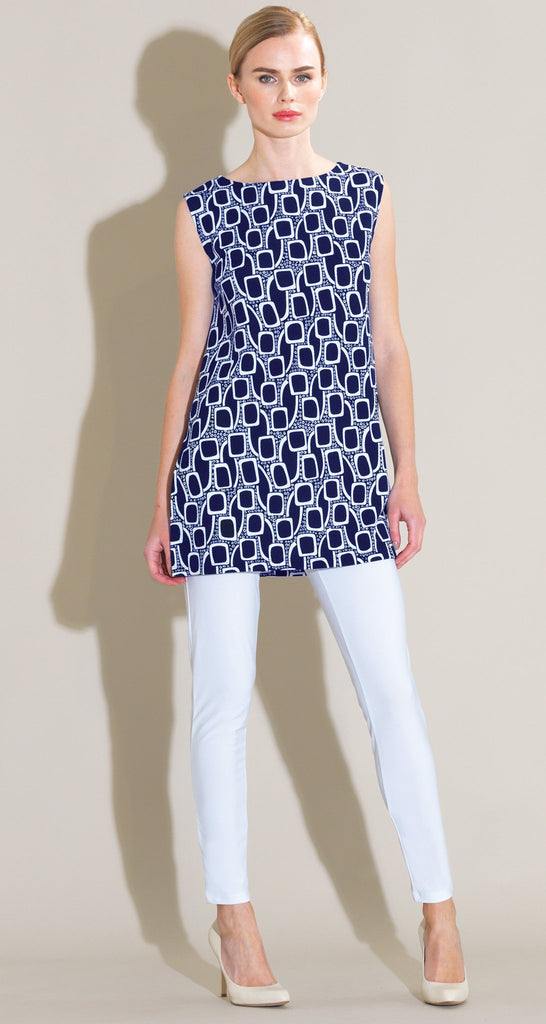 Mod Inspired Square Tunic Tank - Navy/White