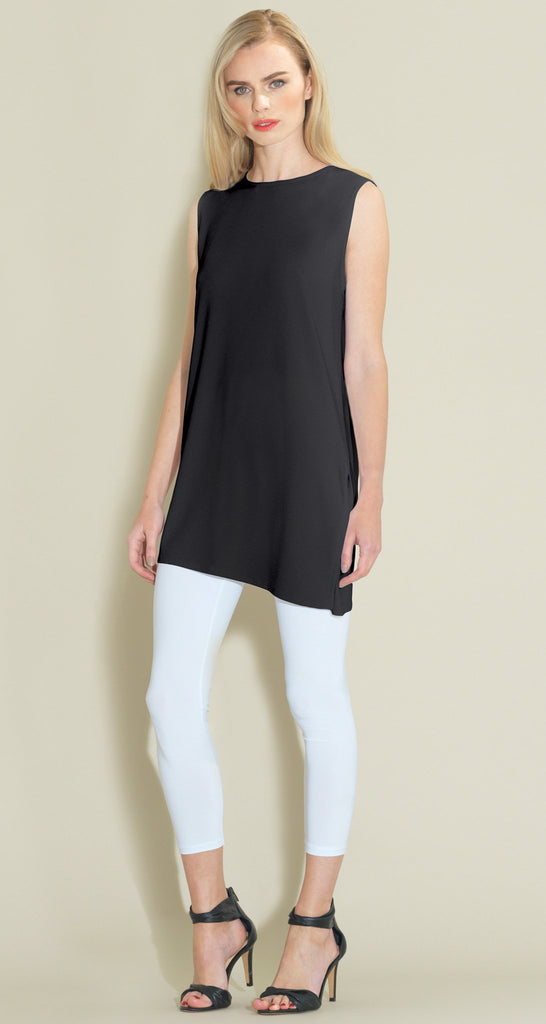 High Round Tunic Tank - Black