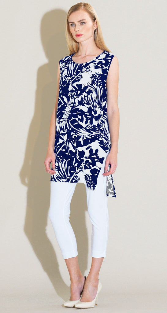 Flowy Side Vent Tunic Tank - Navy/White - Final Sale!