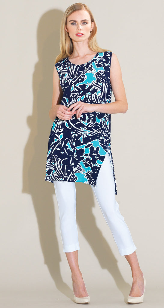 Flowy Side Vent Tunic Tank - Turquoise/Navy