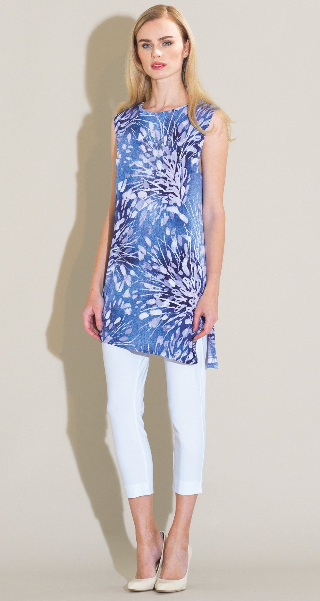 Floral Starburst Print Tunic Tank - Blue/White - Final Sale! - Clara Sunwoo