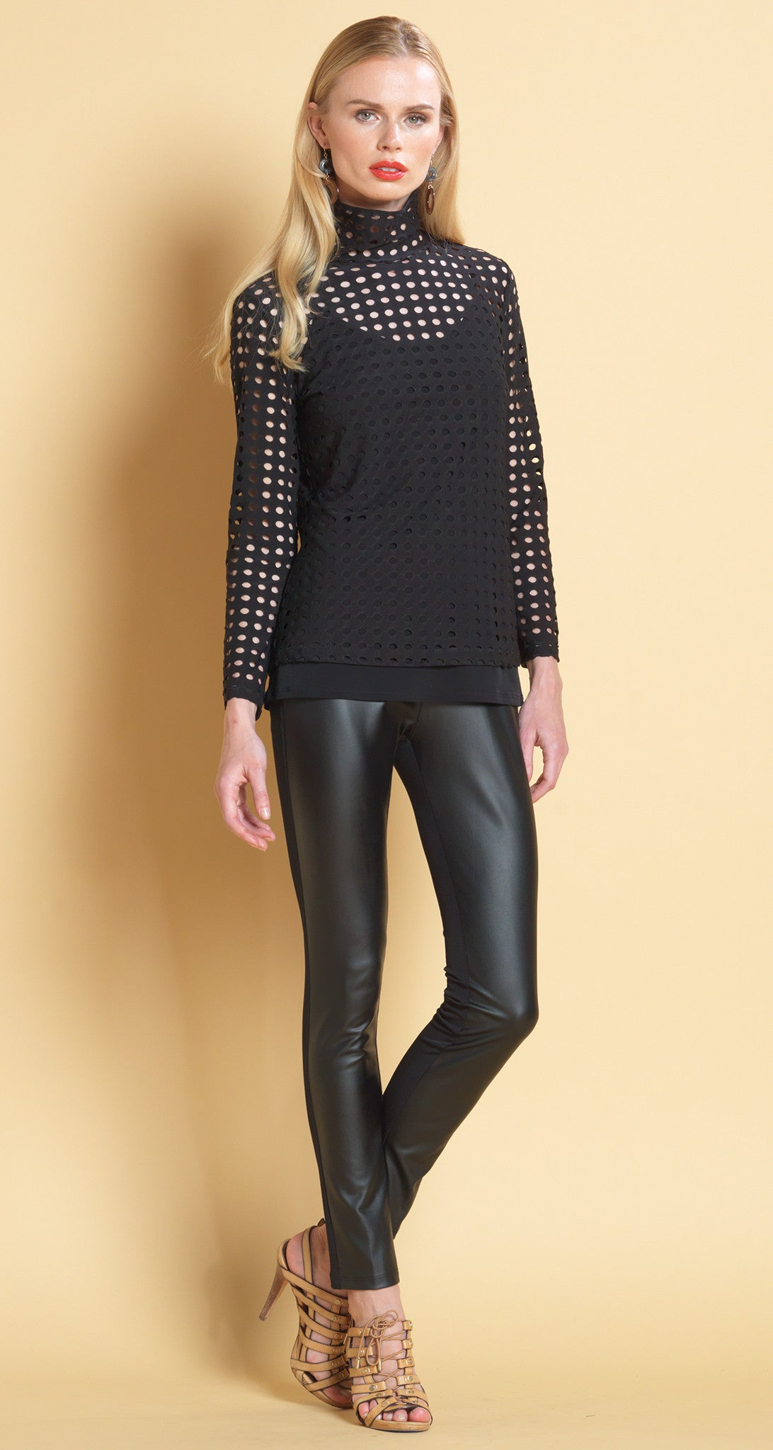 Perforated Mock Neck Long Sleeve Top - Clara Sunwoo