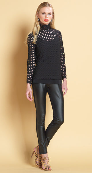 Perforated Mock Neck Long Sleeve Top