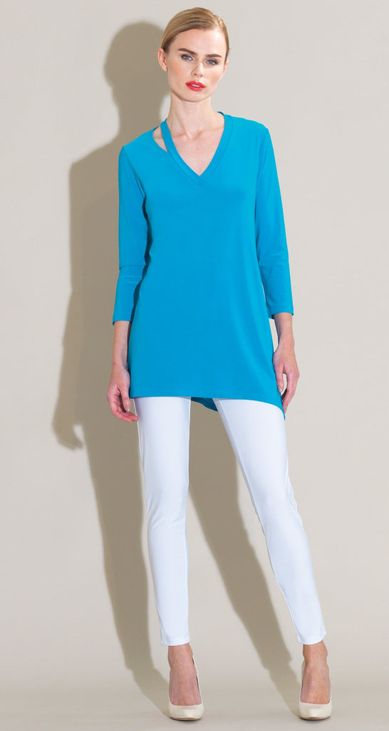 Slit V-Neckline Tunic - Turquoise - Final Sale!