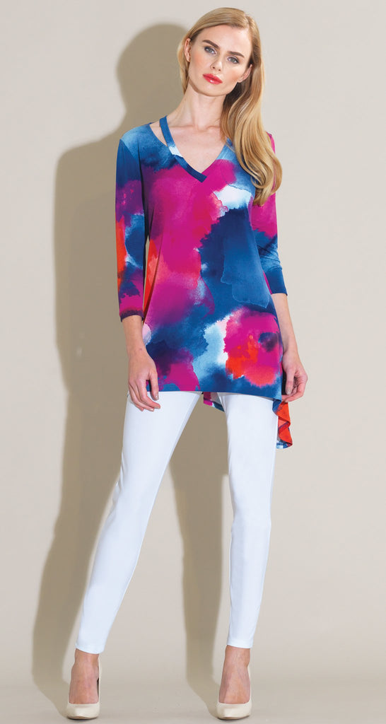 Watercolor Slit V-Neckline Tunic - Fuchsia Multi