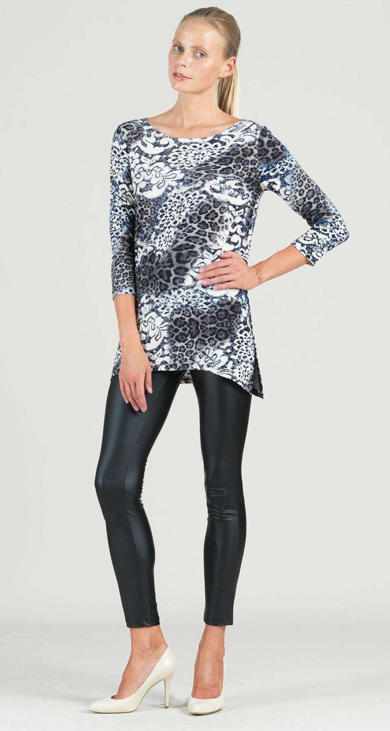 Lace Animal Print Side Vent Tunic