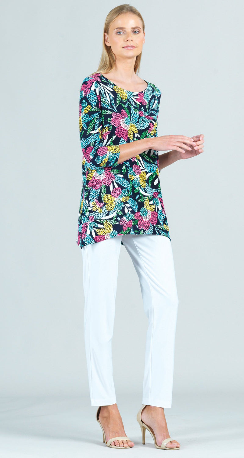 Multi Garden Print Side Vent Tunic
