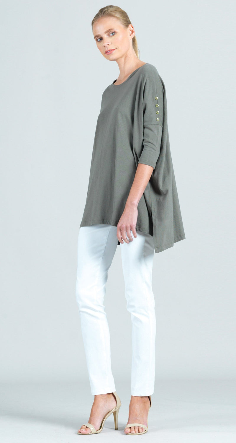 Modal Cotton Knit Button Sleeve Boyfriend Tunic - Olive