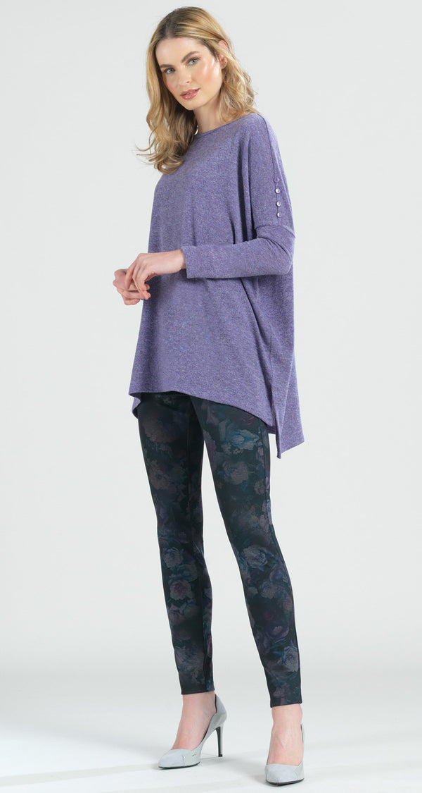 Cozy Button Sleeve Boyfriend Sweater Tunic - Lilac - Final Sale! - Clara Sunwoo