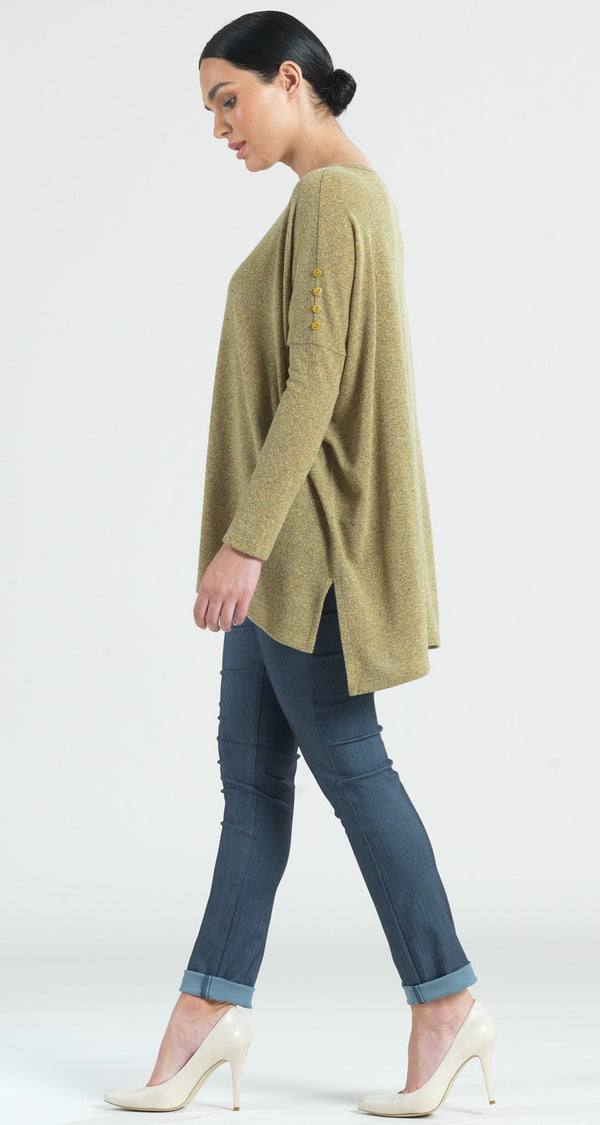 Cozy Button Sleeve Boyfriend Sweater Tunic - Moss - Final Sale! - Clara Sunwoo