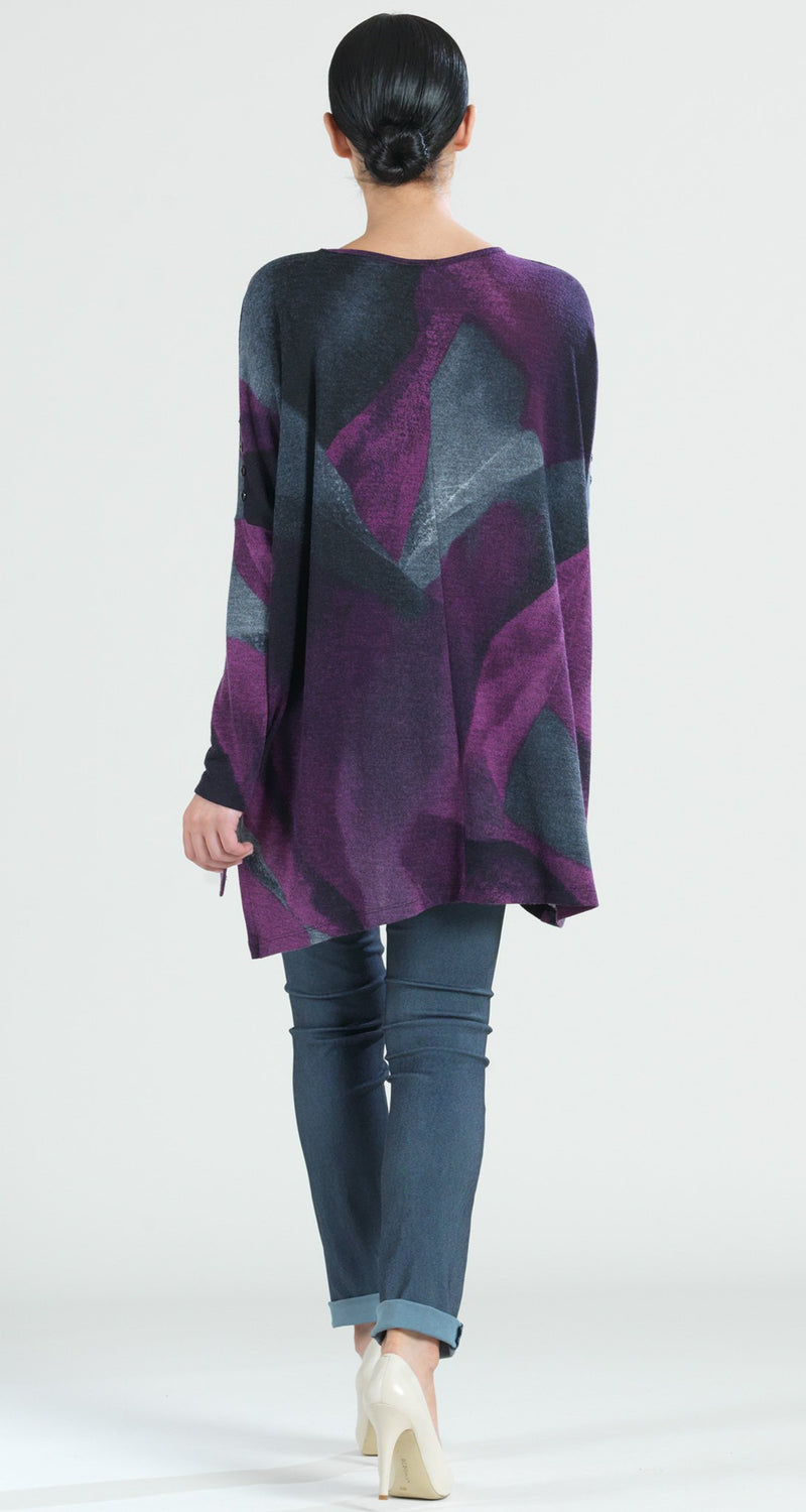 Watercolor Print Button Sleeve Boyfriend Sweater Tunic - Plum - Final Sale! - Clara Sunwoo