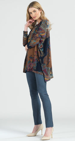 Paisley Print Button Sleeve Boyfriend Sweater Tunic - Limited Sizes!