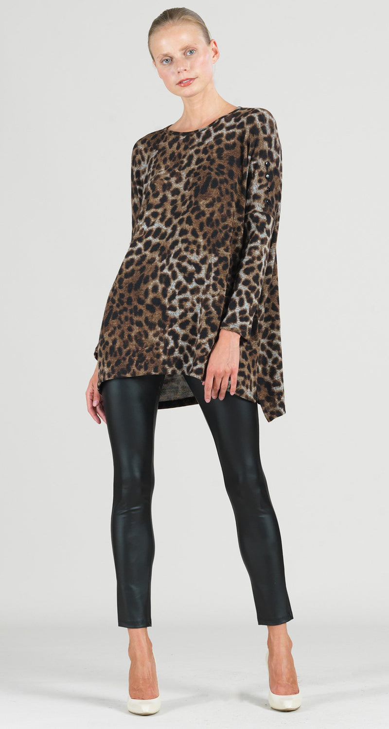 Cozy Cheetah Print Button Sleeve Boyfriend Sweater Tunic