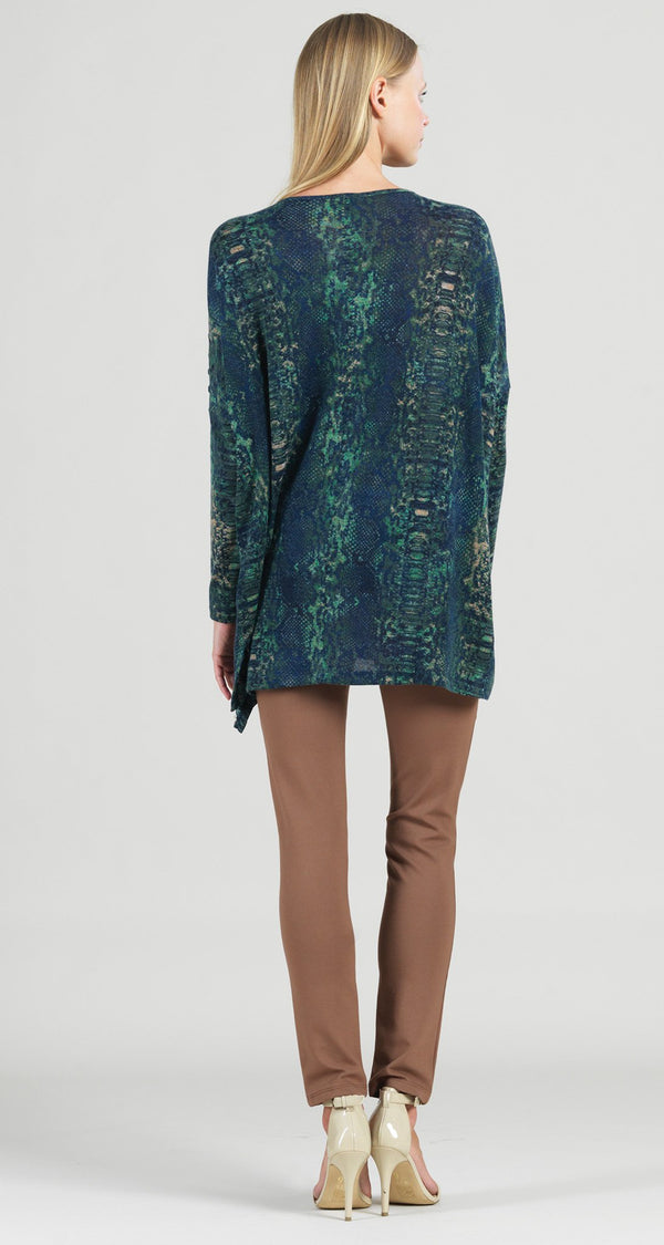 Cozy Python Print Button Sleeve Boyfriend Sweater Tunic - Final Sale!