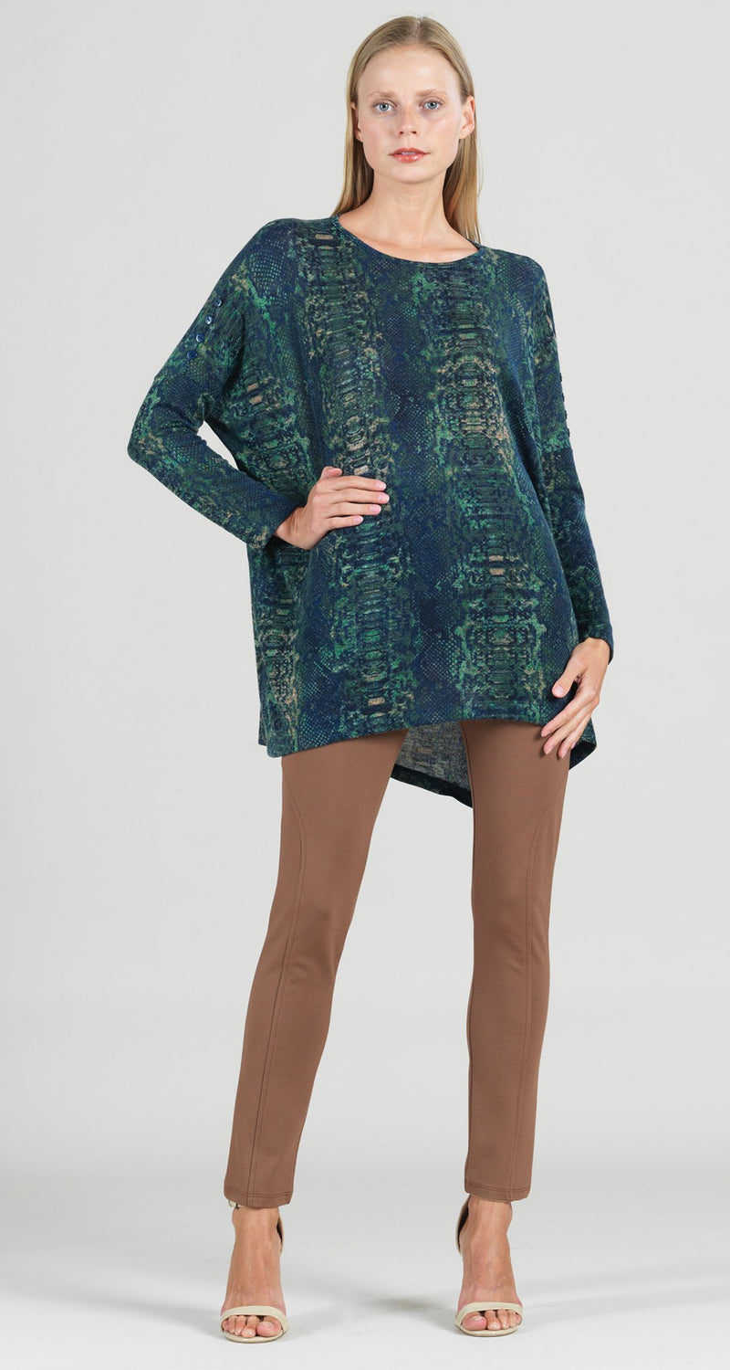 Cozy Python Print Button Sleeve Boyfriend Sweater Tunic