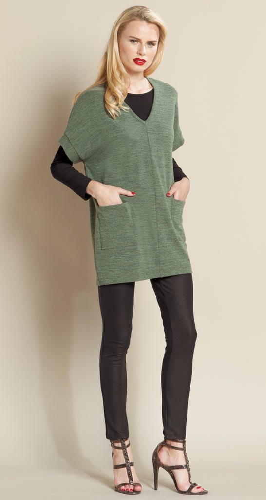 V Neck Pocket Sweater - Olive - Size XS to 1X - Final Sale!