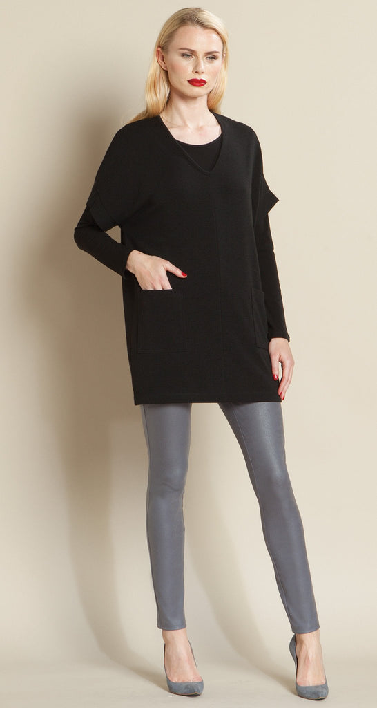 V Neck Pocket Sweater - Black