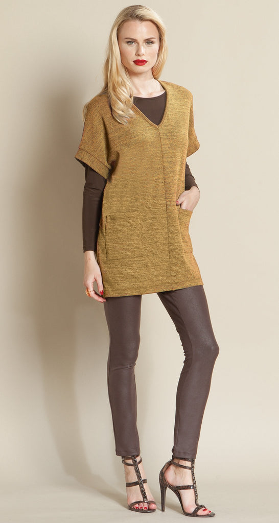 V Neck Pocket Sweater - Honey - Size XS to 1X - Final Sale!