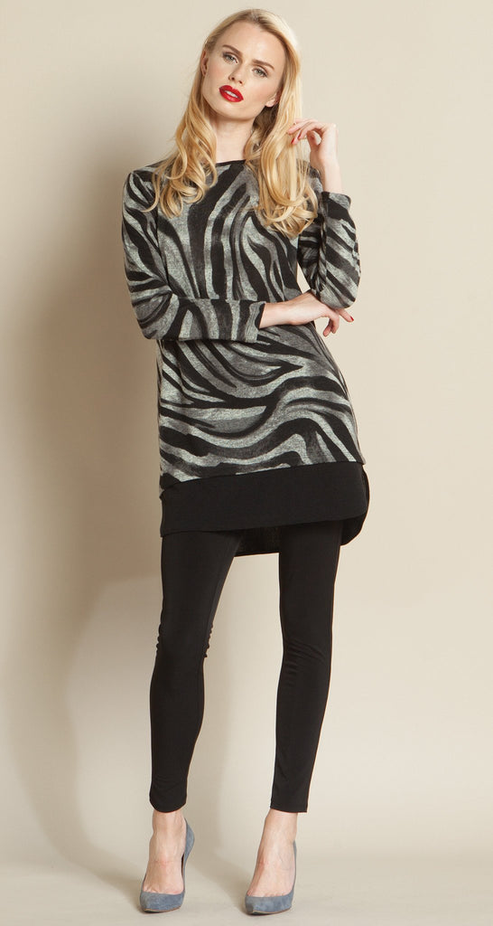 Zebra Print Sweater Tunic - Charcoal - Final Sale!