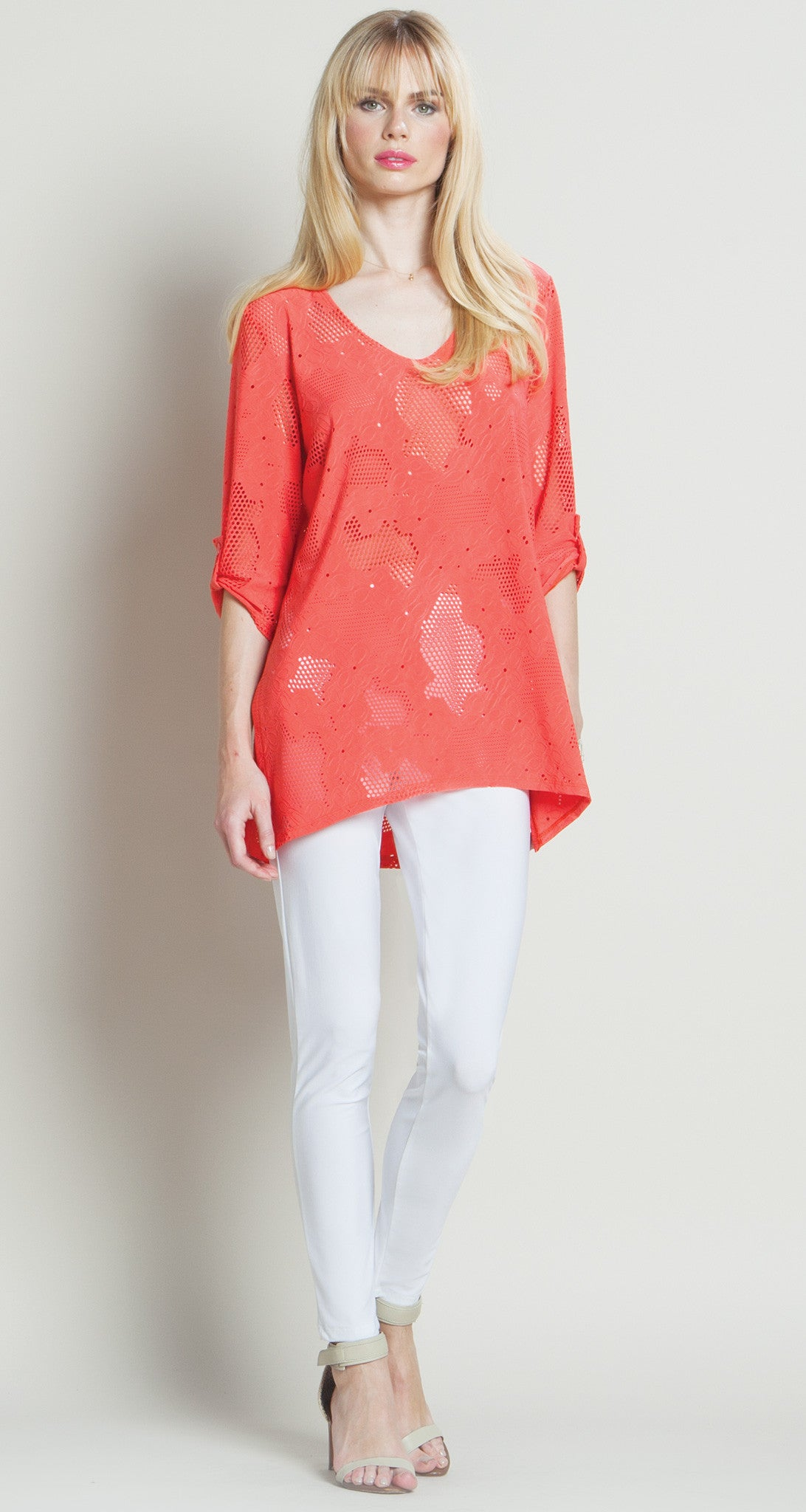 Eyelet V-Neck Tunic - Coral - Final Sale! - Clara Sunwoo