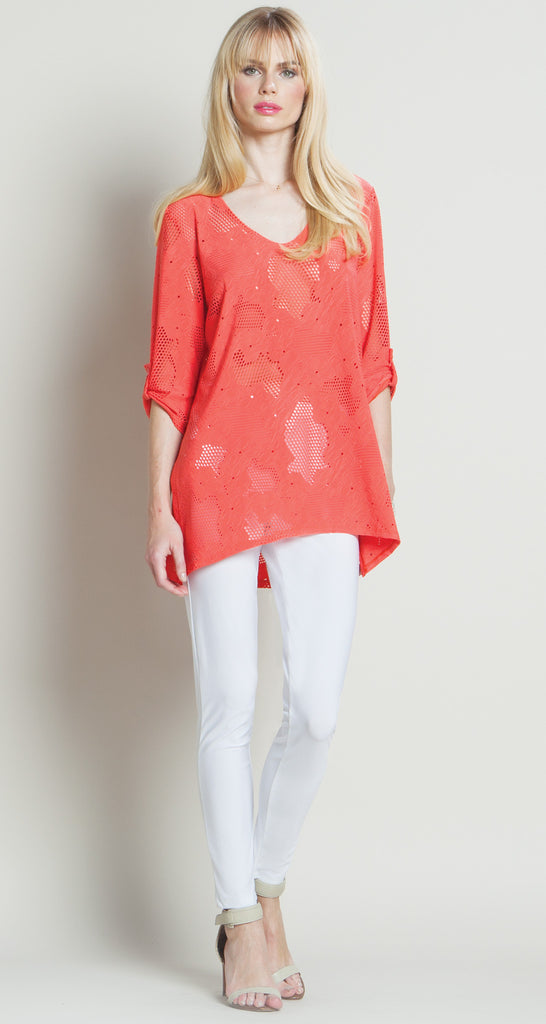 Eyelet V-Neck Tunic - Coral - Final Sale!