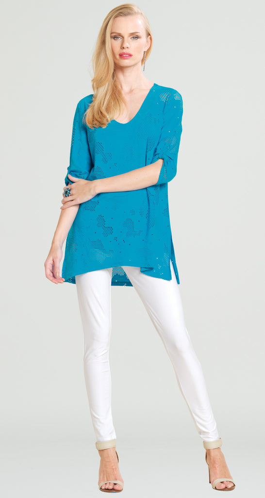 Eyelet V-Neck Tunic - Turquoise- Final Sale!