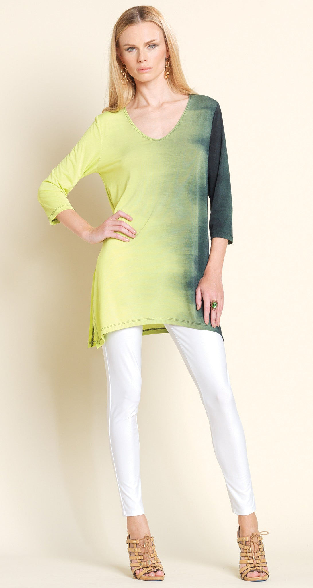 Ombre V-Neck Tunic - Lime - Final Sale!