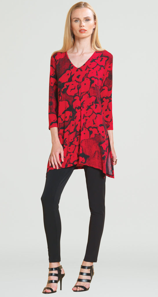Geo Print V-Neck Tunic - Red/Black - Final Sale!