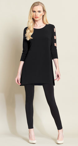 Ladder Sleeve Tunic - Black - Final Sale - Clara Sunwoo