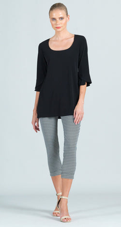 U-Neck Tulip Cuff Sleeve Tunic - Black