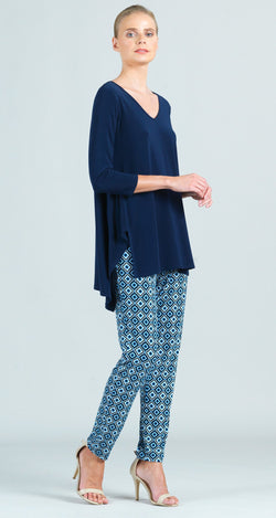 Classic V-Neck Hi-Low Envelope Hem Tunic - Navy