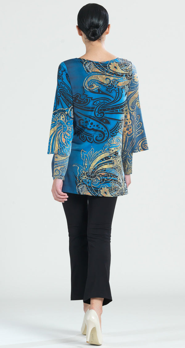 Antique Paisley Print Hi-Low Peekaboo Cuff Tunic - Navy - Final Sale! - Clara Sunwoo