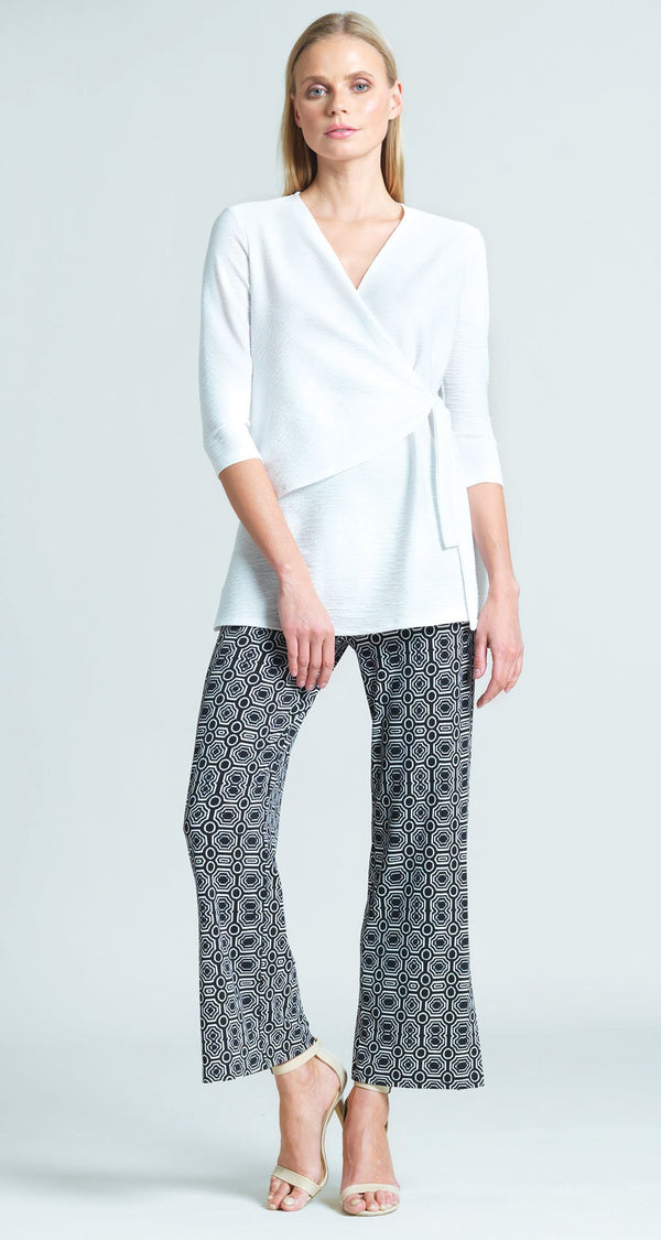 Tile Print Side Slit Ankle Pant - Black/White - Final Sale!