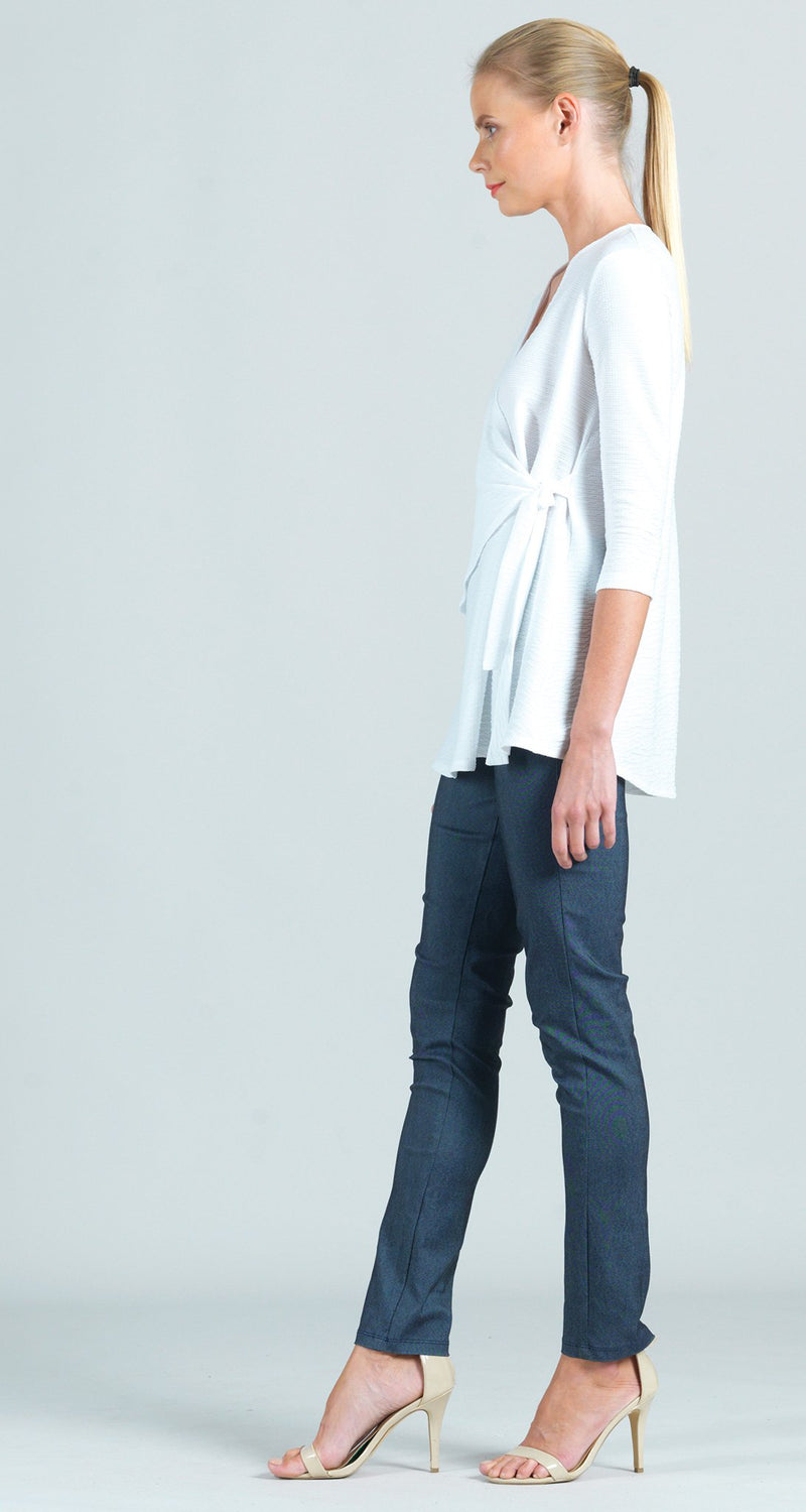 Textured Solid Side Tie Wrap Tunic