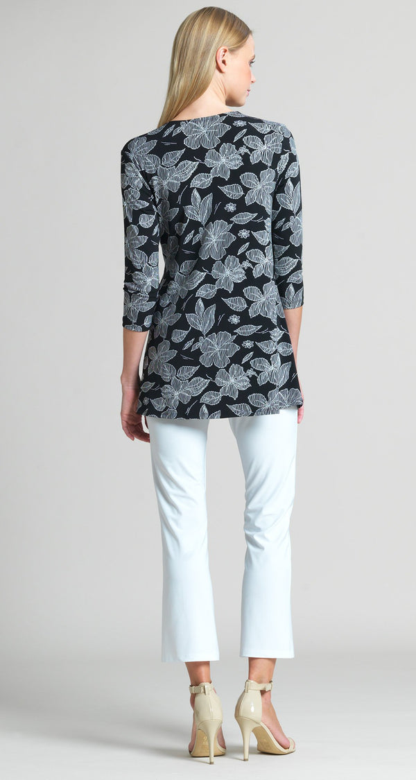 Floral Sketch Print Side Tie Wrap Tunic