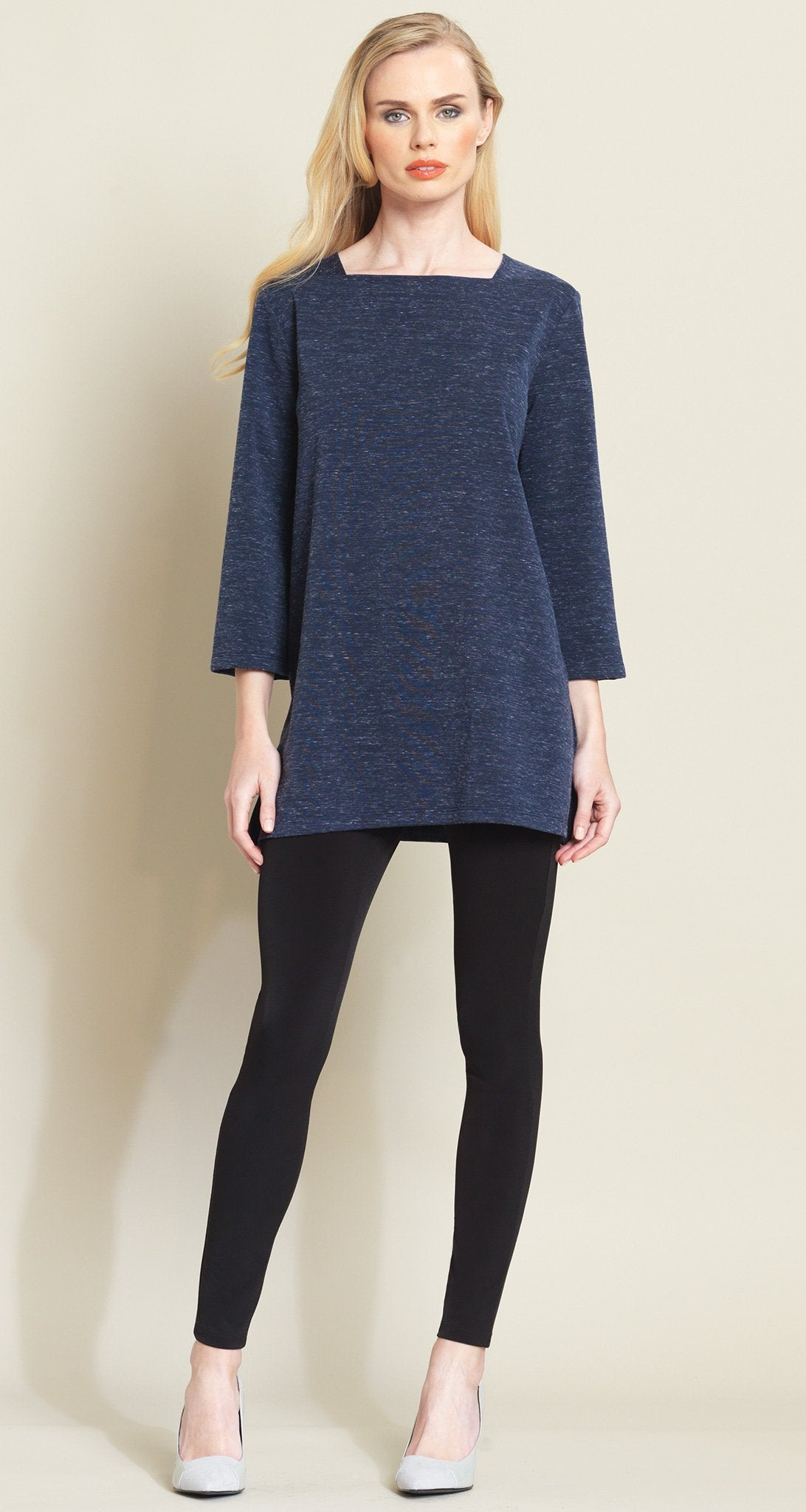 Heathered Square Neck Sweater Tunic - Navy - Size S & 1X Only! - Clara Sunwoo