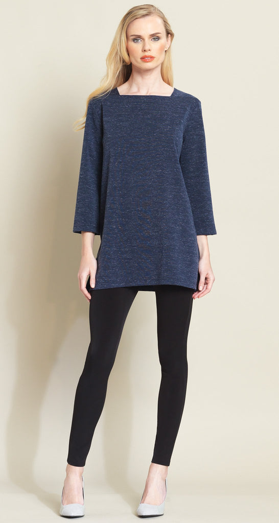 Heathered Square Neck Sweater Tunic - Navy