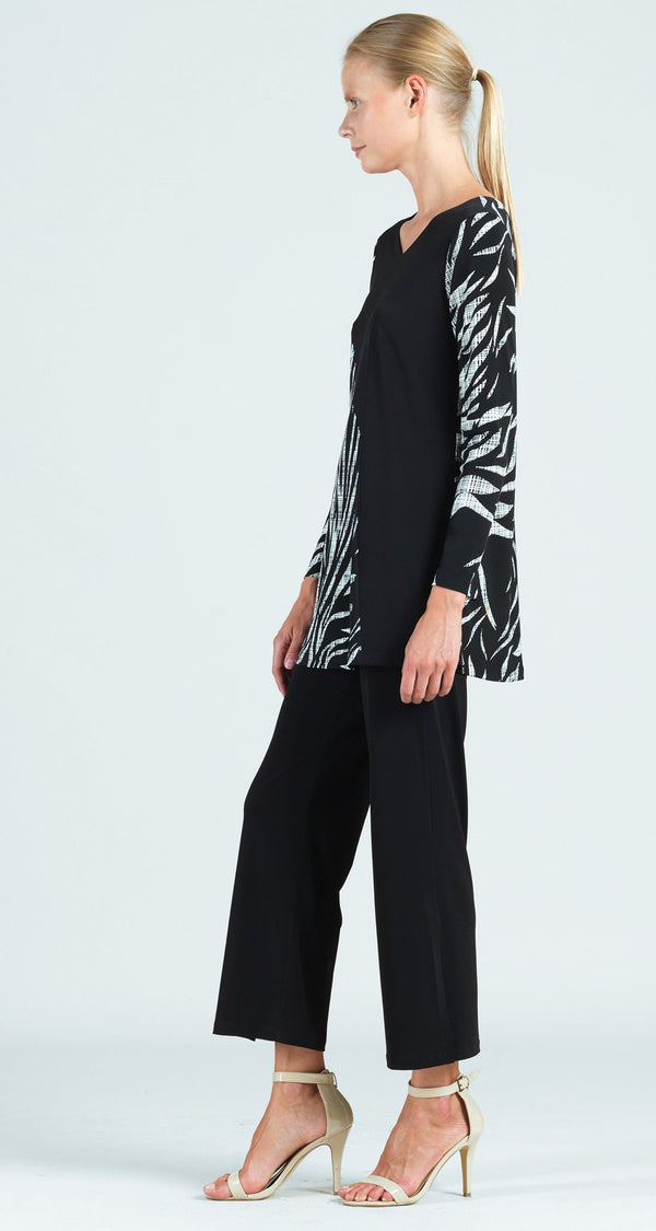 Color Block Leaf Sketch Print V-Neck Long Sleeve Tunic - Final Sale!