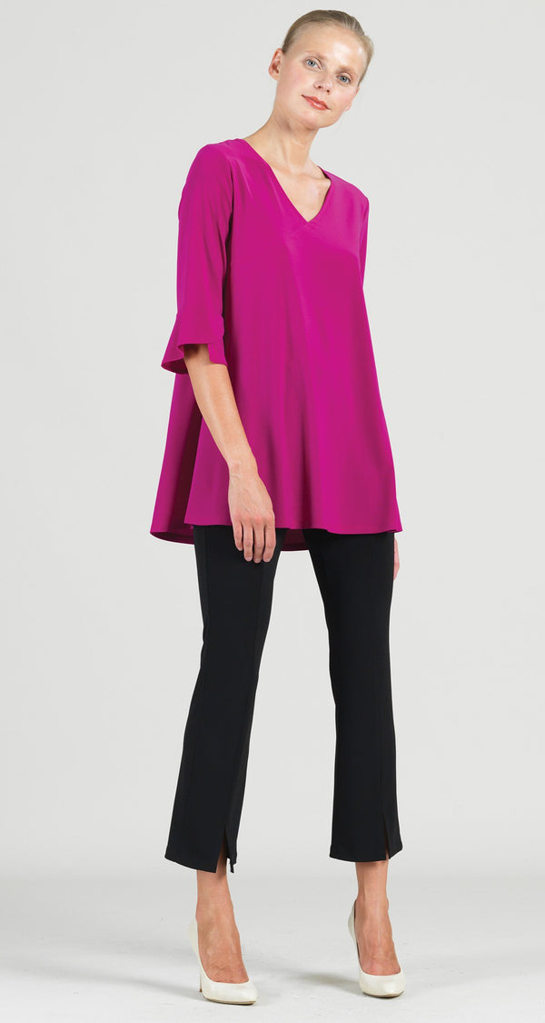 Solid V-Neck Tulip Sleeve Tunic - Magenta - Final Sale!