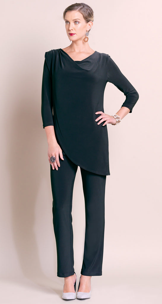 Cowl Overlay Tunic - Black - Final Sale!