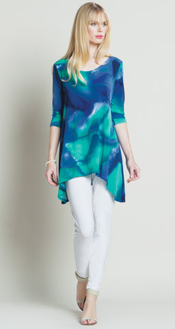 Watercolor Print Back Cut-Out Tunic