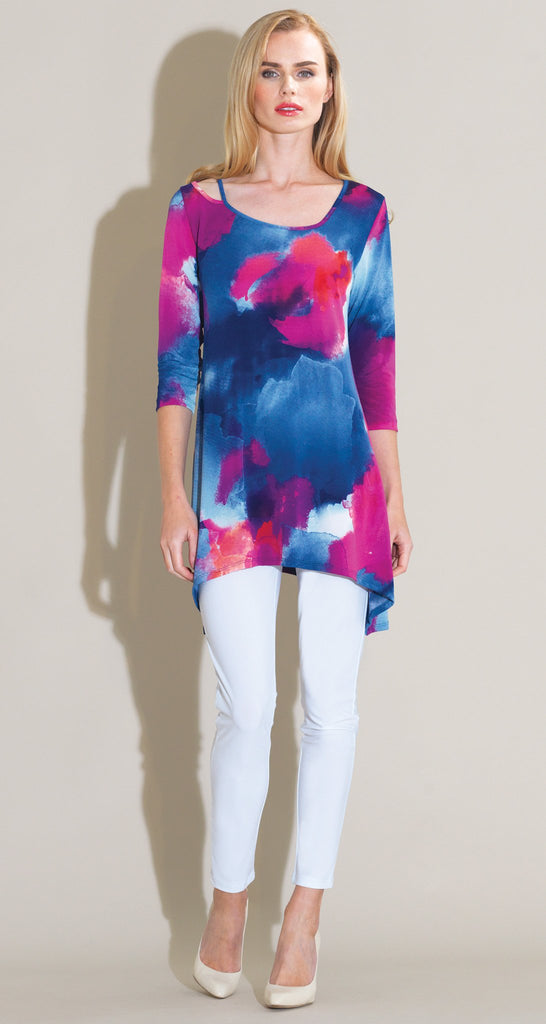 Watercolor Strap & Angle Neckline Tunic - Fuchsia Multi
