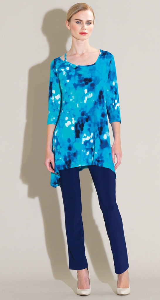 Water Drop Strap & Angle Neckline Tunic - Turquoise Multi - Final Sale!