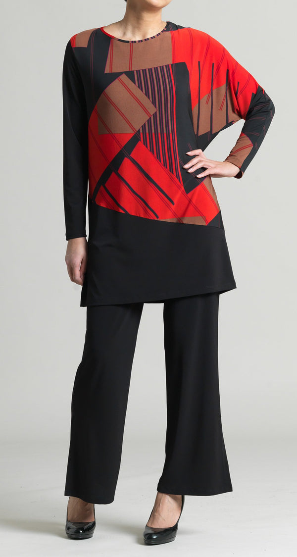 Geo Rectangle Print Half Dolman Sleeve Tunic - Red/Black - Final Sale! - Clara Sunwoo