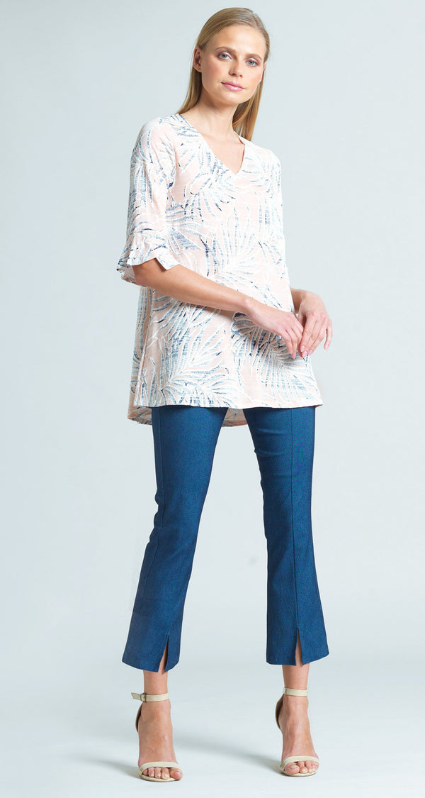 Tropical Floral Print V-Neck Tulip Sleeve Tunic - Blush - Final Sale!